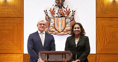 Director of the Aboriginal Justice Unit Leanne Liddle with NT Chief Justice Michael Grant.