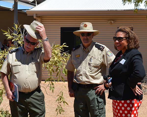 Alice Springs Correctional Centre Superintendent Grant Ballantine, Deputy Superintendent Geoff Blundell and Leanne Liddle.
