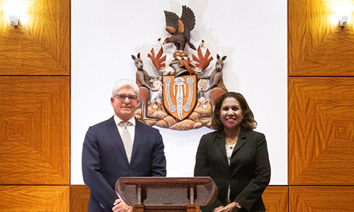 Chief Justice Michael Grant with Leanne Liddle