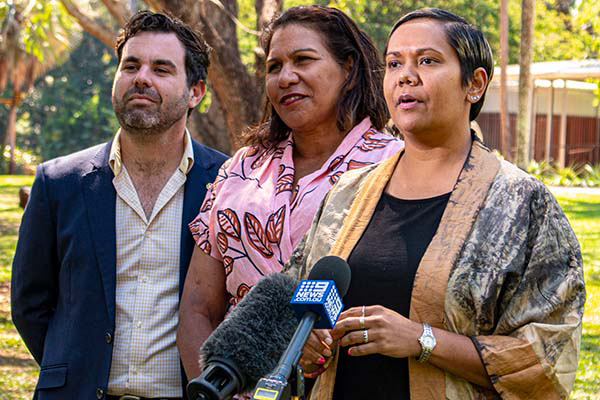 Minister Chansey Paech, Director of the Aboriginal Justice Unit Leanne Liddle and Minister Selena Uibo speak with the media.